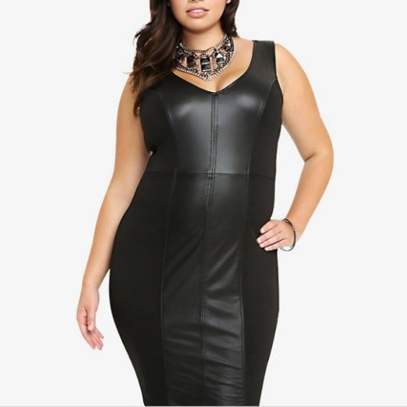Plus Size Faux Leather block, bodycon midi dress